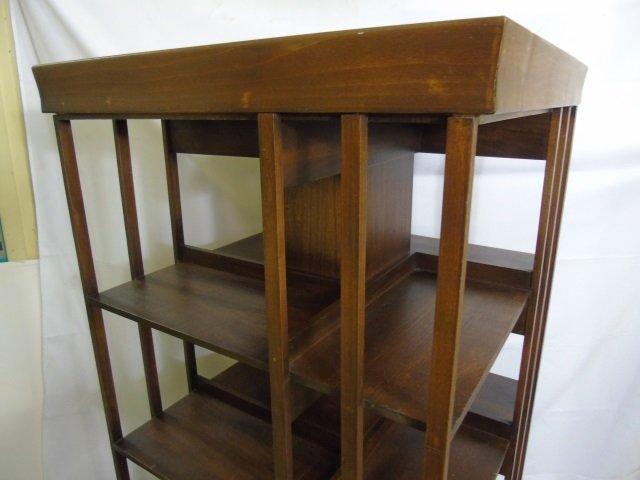 Mahogany Tone Revolving Library Stand Bookcase - 4