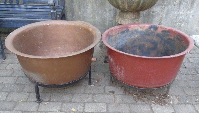 Antique Heavy Metal Planter Pots / Tinder Boxes