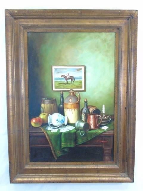 J. Nodrik - Still Life Painting of Horse & Jockey