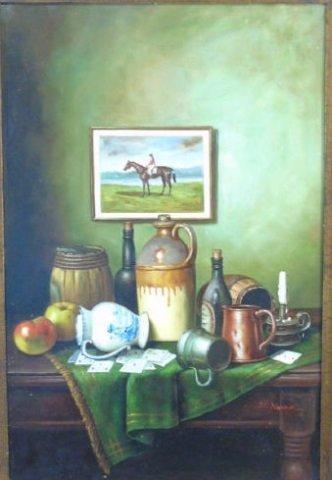 J. Nodrik - Still Life Painting of Horse & Jockey - 2