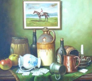 J. Nodrik - Still Life Painting of Horse & Jockey - 4