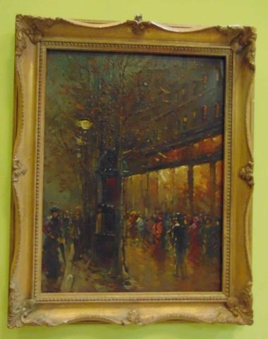 Framed Painting of a French Street Scene