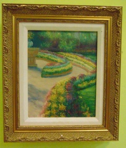 K. Davide - Painting of a Formal Flower Garden