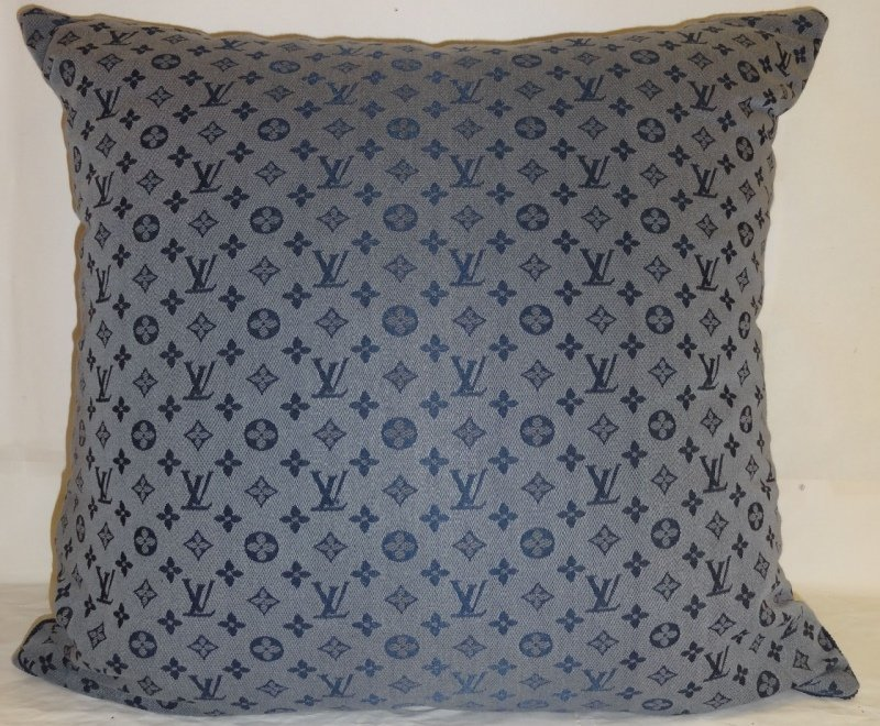 Louis Vuitton Logo Blue Throw Pillow