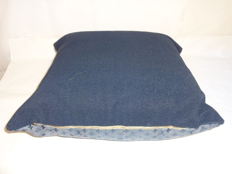 Louis Vuitton Logo Blue Throw Pillow - 3