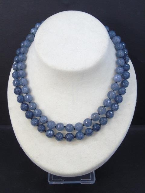 Pair Faceted Tourmaline Beaded Necklace Strands