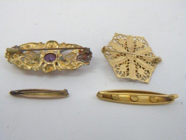 Four Estate Antique 19th C Gilt Metal Bar Pins - 2
