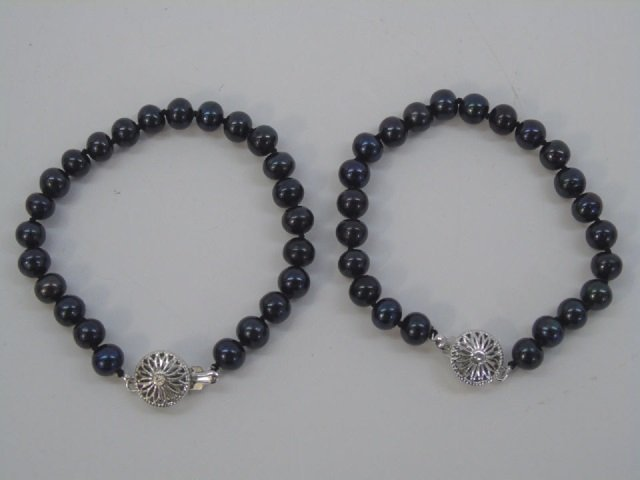 Pair Cultured Black Tahitian Pearl Bracelets