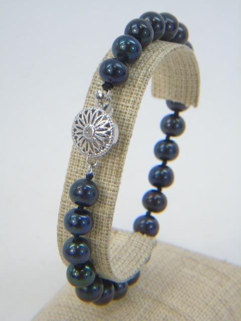 Pair Cultured Black Tahitian Pearl Bracelets - 2