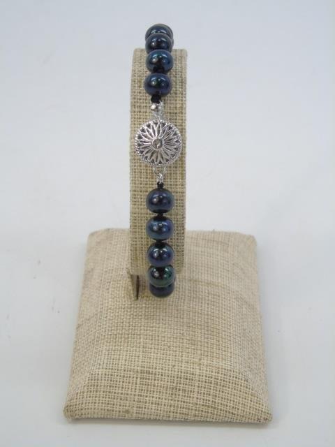 Pair Cultured Black Tahitian Pearl Bracelets - 5