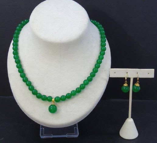 Chinese Carved Jade Necklace & Earring Suite