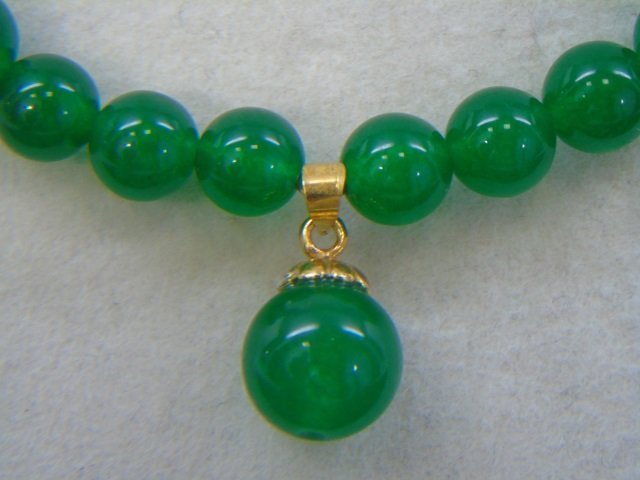 Chinese Carved Jade Necklace & Earring Suite - 5