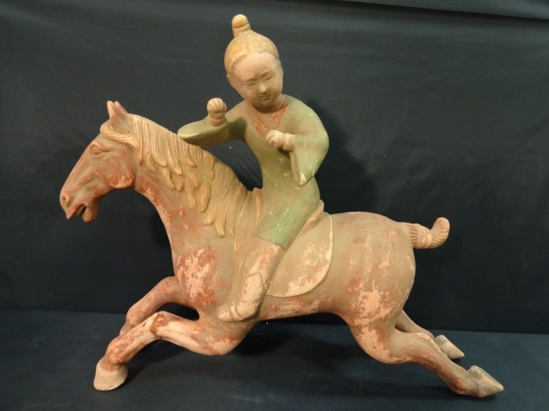 Antique Chinese Horse w/Rider- Plaster & Terracota