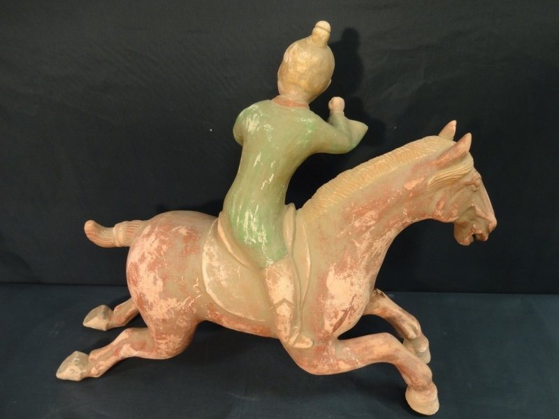 Antique Chinese Horse w/Rider- Plaster & Terracota - 3