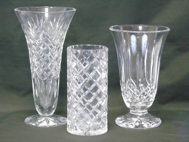 Lot of 3 Crystal Vases Waterford Galway Ceskci