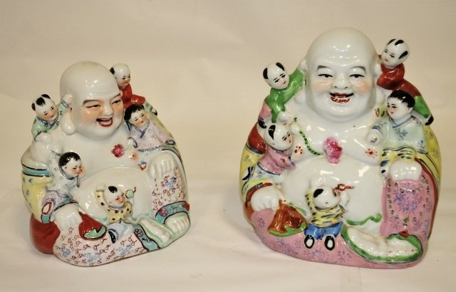Pair of Antique Chinese Glazed Porcelain Buddhas