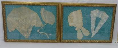 Pair of 19th C. Framed Lace Bonnets & Collar