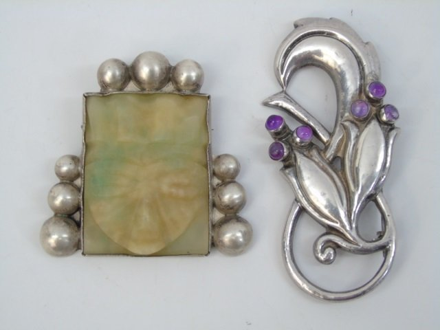 Two Large Mexican Figural Sterling Silver Brooches