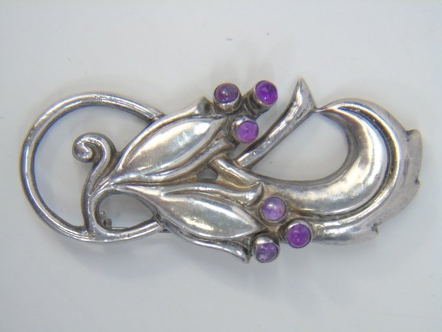 Two Large Mexican Figural Sterling Silver Brooches - 5