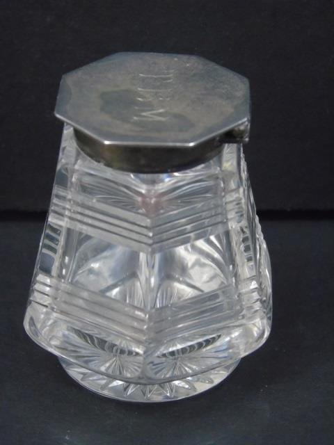 Antique English Sterling & Crystal Inkwell