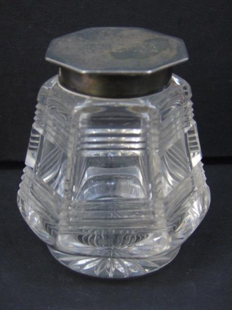 Antique English Sterling & Crystal Inkwell - 3