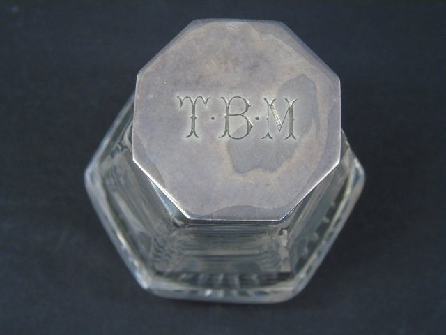 Antique English Sterling & Crystal Inkwell - 4