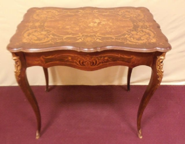 Antique 19th Century Marquetry Wood Inlay Table
