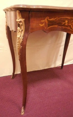 Antique 19th Century Marquetry Wood Inlay Table - 2