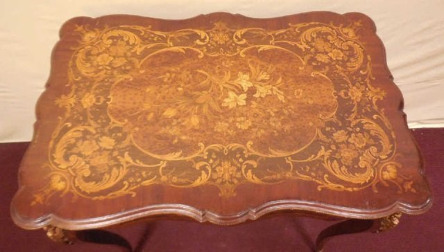 Antique 19th Century Marquetry Wood Inlay Table - 4