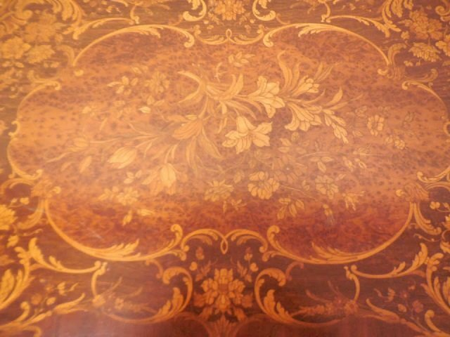 Antique 19th Century Marquetry Wood Inlay Table - 5
