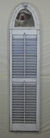 Vtg Shutter w/ Mirror, Distressed Painted Finish