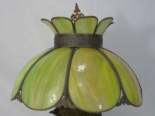Antique Victorian Floral Painted Slag Glass Lamp - 2