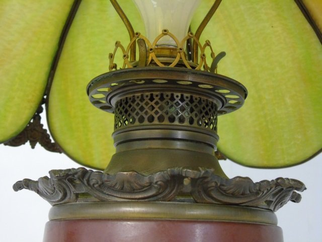 Antique Victorian Floral Painted Slag Glass Lamp - 3