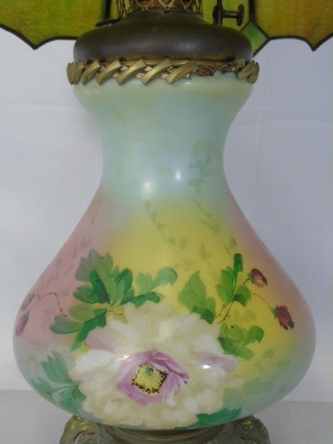 Antique Victorian Floral Painted Slag Glass Lamp - 4