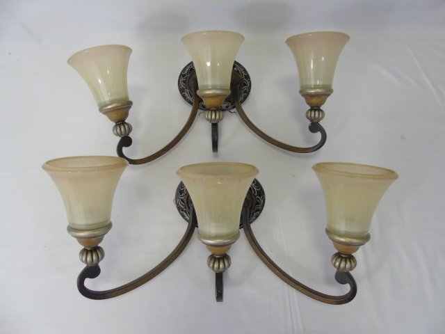 Pair Art Glass & Bronze Tone 3 Arm Wall Sconces