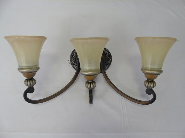 Pair Art Glass & Bronze Tone 3 Arm Wall Sconces - 3