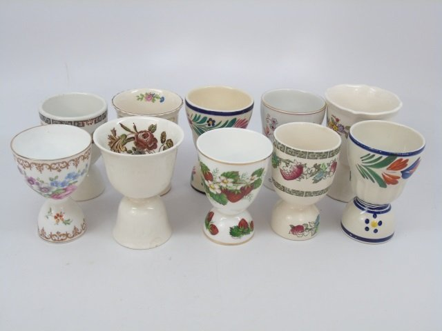 Group of 10 English Egg Cups by Wedgwood etc