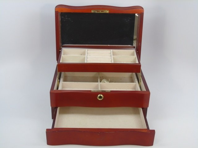 Contemporary Wooden Table Top Jewelry Box