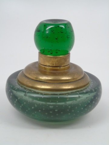 Antique Green Glass Controlled Bubbles Ink Well