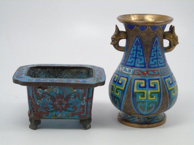 2 Antique Chinese Cloisonne Vessels Vase Bowl