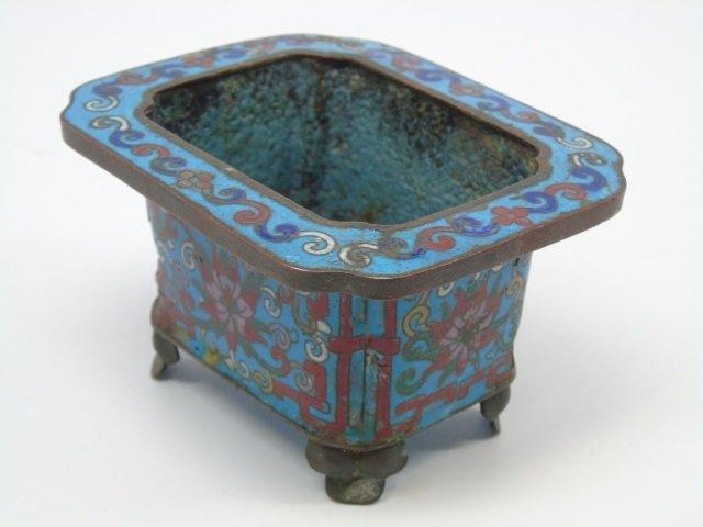 2 Antique Chinese Cloisonne Vessels Vase Bowl - 2