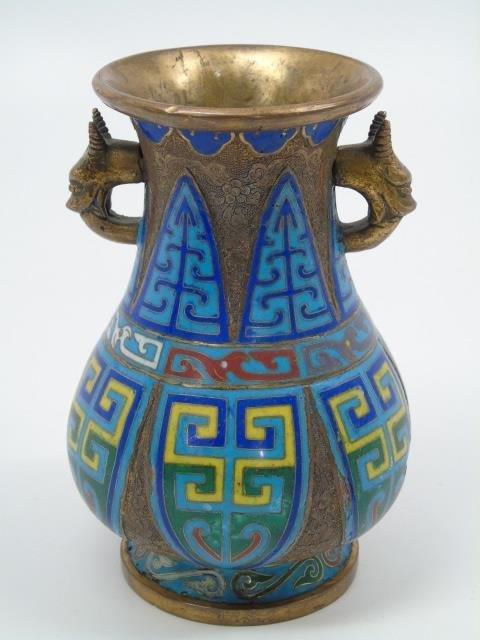 2 Antique Chinese Cloisonne Vessels Vase Bowl - 3