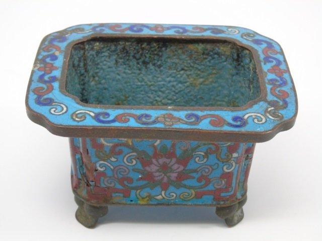 2 Antique Chinese Cloisonne Vessels Vase Bowl - 7