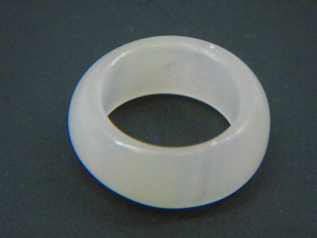 Chinese Carved White Jade Ring Size 7