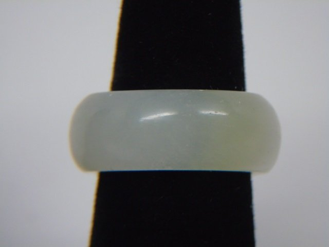 Chinese Carved White Jade Ring Size 7 - 2