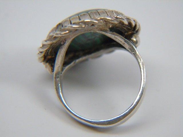 Sterling Silver & Malachite Ring Size 7 - 2