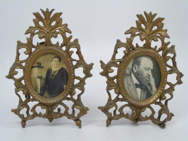 Pair of Antique Victorian Brass Frames