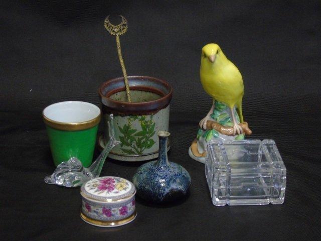 8 Table Items Spode Porcelain Bird Limoges Pot