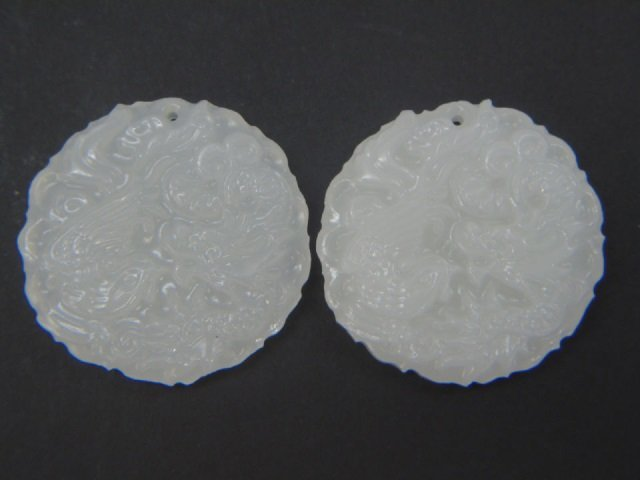 Pair of Chinese Carved White Jade Pendants Discs