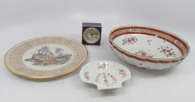 Assorted Vintage Table Articles Porcelain & Clock
